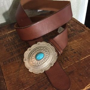 Target Accessories - Genuine brown leather belt silver & turquoise XL